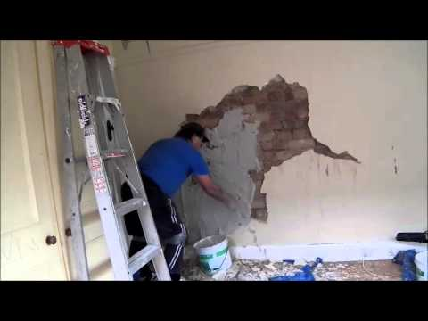 Large Solid Plaster Repair on Brick Wall