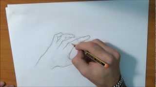 Aprende a dibujar una mano casi abierta - Draw hand almost open