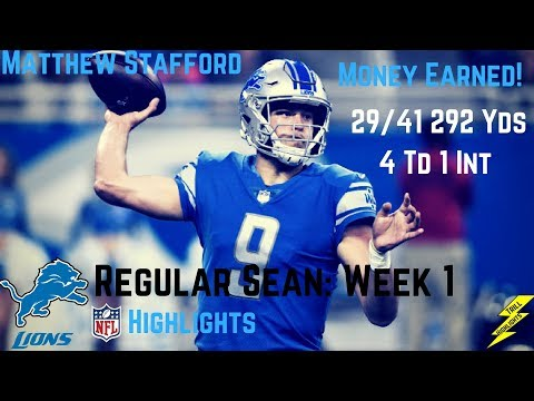 Matthew Stafford Week 1 Regular Season Highlights Money Earned | 9/10/2017