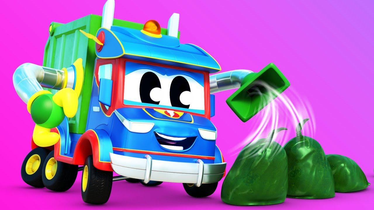 الشاحنة الخارقة شاحنة القمامة الخارقة تنظف الشاطئ الشاحنة الخارقة - تطبيق عالم مدينة السيارات