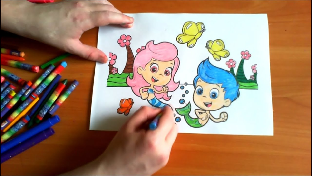 bubble guppies new coloring pages for kids colors coloring colored markers felt pens pencils