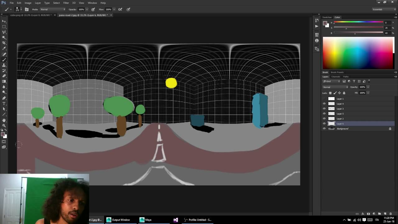 Panopainting: how to paint a 360 panoramic with photoshop and maya.