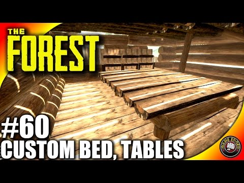 The Forest Gameplay - Custom Bed, Big Table, chairs - Let's Play S16EP60 (Alpha V0.39)