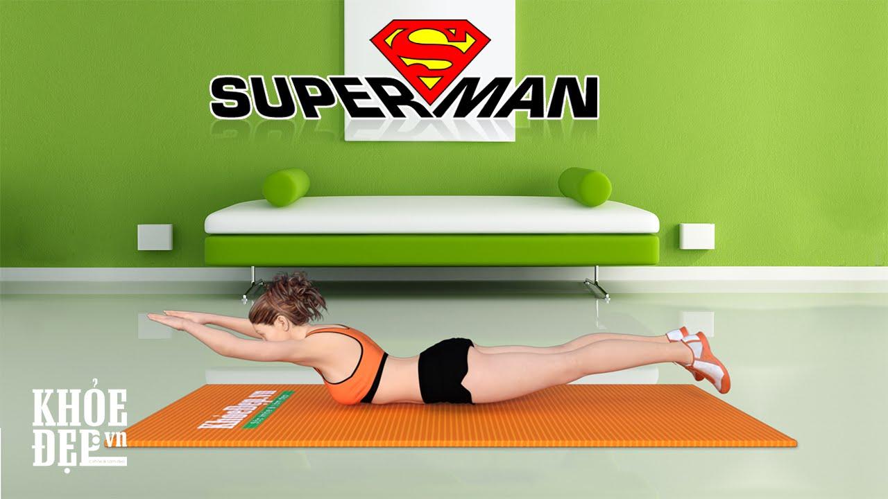 Chìa khóa vòng 3 căng tràn sức sống với bài tập mông #10 Superman | KhoeDep.vn