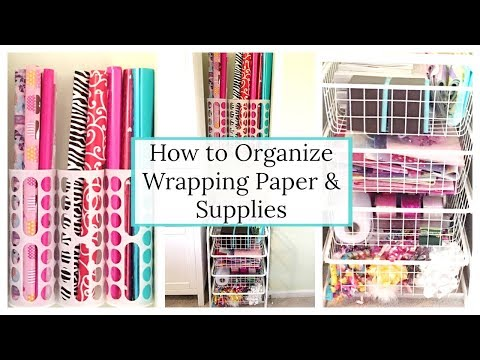 HOW TO ORGANIZE WRAPPING PAPER | HOW TO STORE GIFT WRAP & GIFT BAGS | SMALL SPACE ORGANIZATION