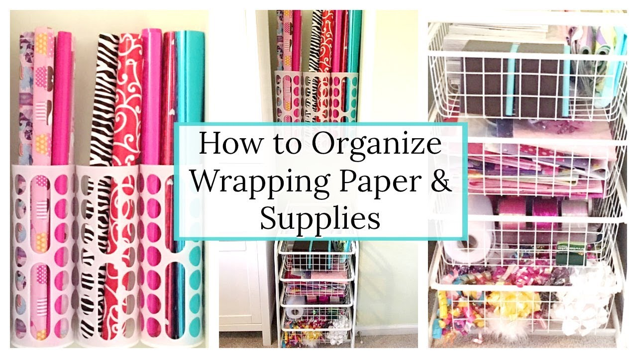 HOW TO ORGANIZE WRAPPING PAPER   HOW TO STORE GIFT WRAP & GIFT BAGS   SMALL SPACE ORGANIZATION - YouTube