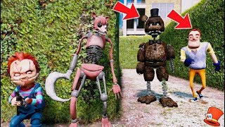 CAN DRAWKILL FOXY & CHUCKY HIDE FROM IGNITED FREDDY & HELLO NEIGHBOR? (GTA 5 Mods For Kids)