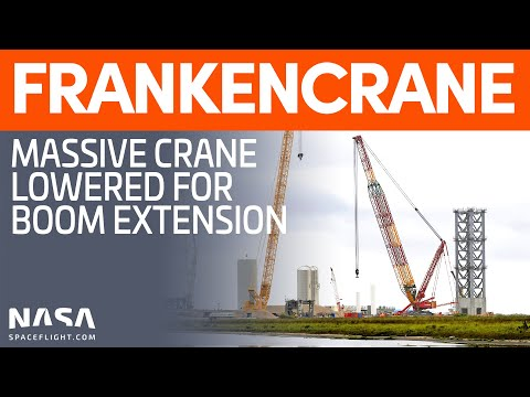 "LR 11350 ""Frankencrane"" Prepared for Boom Extension | SpaceX Boca Chica"