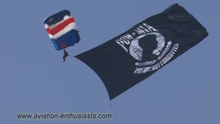 2014 Discover Aviation Days Air Show E-Team Skydivers POW/MIA jump (Sunday)