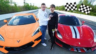 A STRANGER CHALLENGED US TO A RACE! (C8 Corvette vs Ferrari 488 Pista)