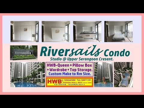 Riversail Condo Hidden Wall Bed HWB-Queen + Pillow Box + Top  Storage+Wardrobe HWB HUB HDB BTO EC