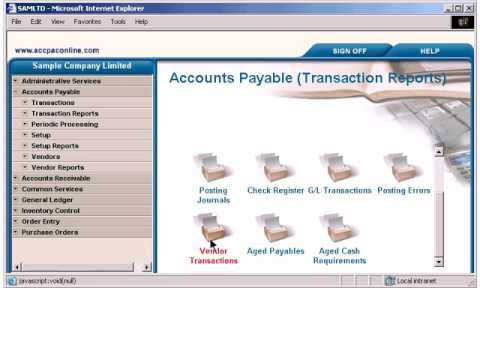 Accpac 002 Demo Accpac 5 4 Accounts Payable - YouTube