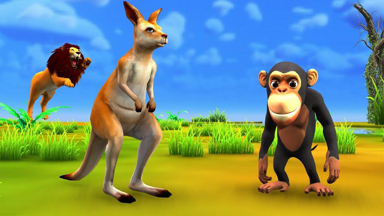 बंदर बचाव कंगारू Monkey Rescue Kangaroo Story - Hindi Kahaniya Panchatantra Stories 3D Hindi Kahani