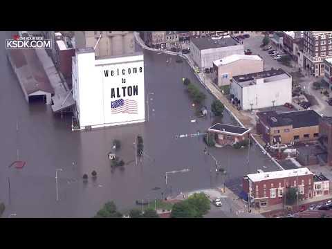 Mississippi River flooding in Alton, Illinois: June 3, 2019
