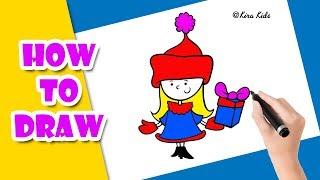 Vẽ và tô màu cô gái - How to draw a little girl I Bé Tập Vẽ