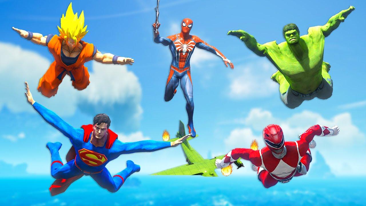 ALL SUPERHEROES FLYING CHALLENGE | Spiderman, Hulk & Superman Skydiving Best Jump Competitive #237
