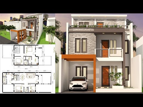 Sam-Architect Home Design 3D Plot Size 7x17 With 5 Bedrooms Sketchup Modeling