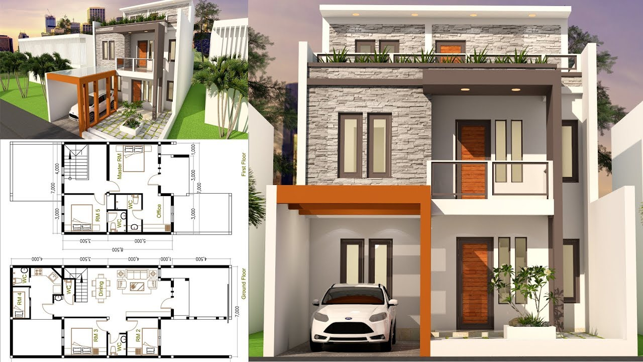 Sam Architect Home Design 3D Plot Size 7x17 With 5 Bedrooms Sketchup  Modeling
