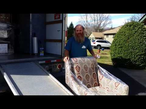 Asheville Local Movers Shrink Wrap Load and Unload Furniture Moving Trucks for Long Distance Moves