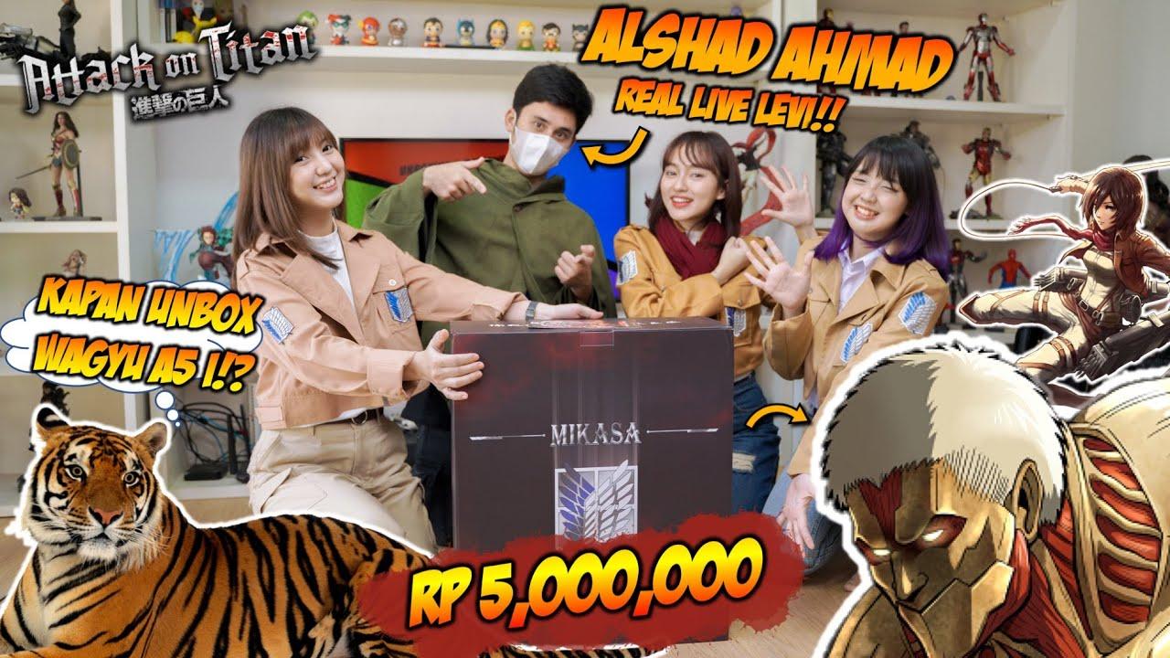 ALSHAD AHMAD aka LEVI ACKERMAN, HISTORIA, SASHA & MIKASA UNBOXING MIKASA VS ARMOR TITAN!!