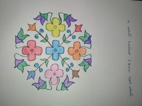 Flower Pulli kolam designs with dots - Flower Pulli Kolangal - Simple Flower Kolam Designs with dots