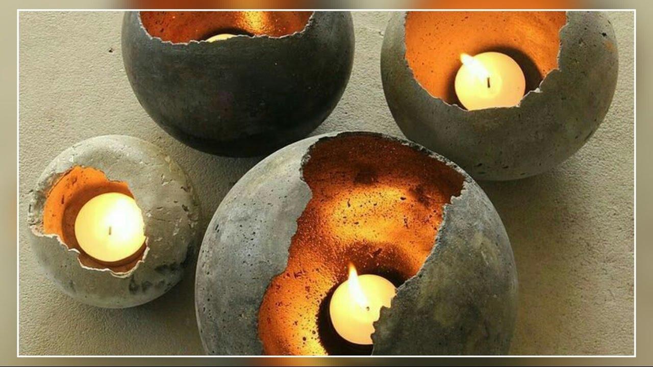 diy home made concrete candle holder youtube. Black Bedroom Furniture Sets. Home Design Ideas