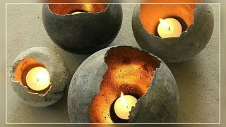DIY- Home Made Concrete Candle Holder