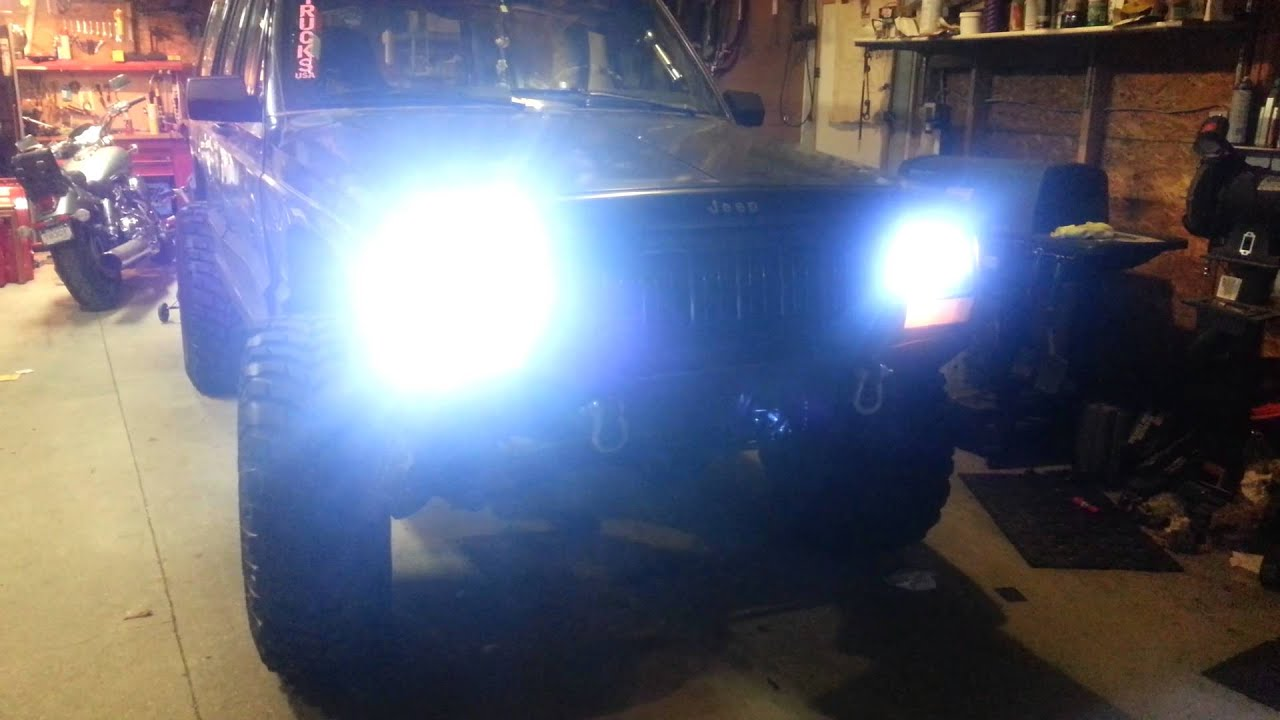 Jeep Cherokee Xj >> 95 Jeep Cherokee HID/LED headlights - YouTube