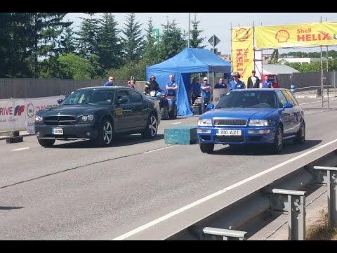 Audi RS2 Avant 2.2t vs Dodge Charger R/T 5.7 Hemi 1/8mile drag race