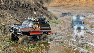 Traxxas TRX-4 Ford Bronco and Defender long muddy trail