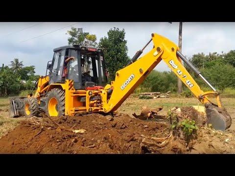 Lazy Driver in Escorts Dozer - Dozer Pulling Tree Root on Road construction - JCB VIDEO