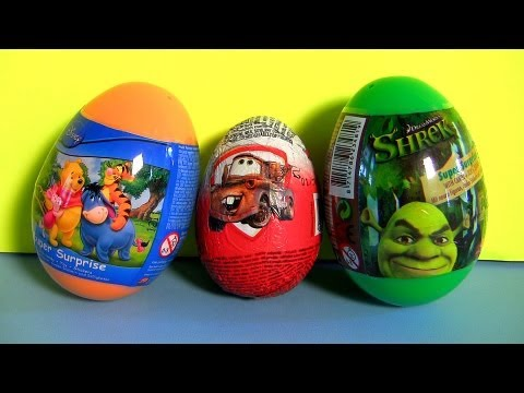 Pooh Tigger Surprise Eggs Kinder Surprise Cars Easter Eggs Holiday Edition Shrek By Disneycollector Youtube