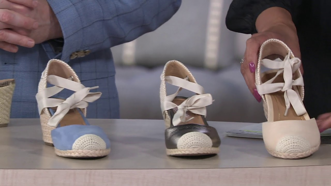 bc1f9e14288 Vionic Espadrille Wedges w  Tie - Maris on QVC - YouTube