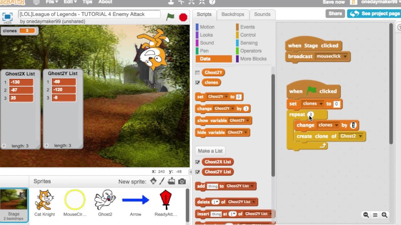 Scratch Tutorial Scratch Games How to make a game - League of Legends,  Tutorial 4