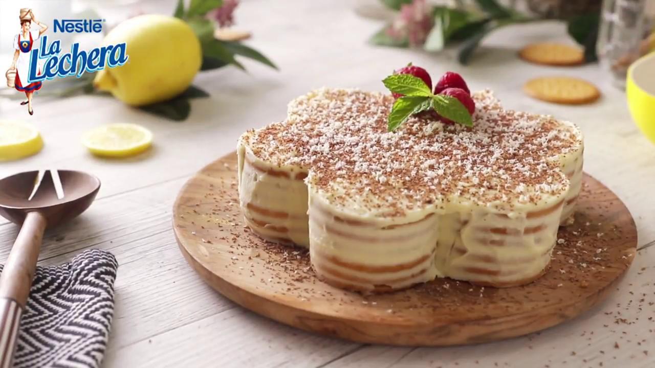 Tarta de galletas con limón y leche condensada - Recetas La Lechera