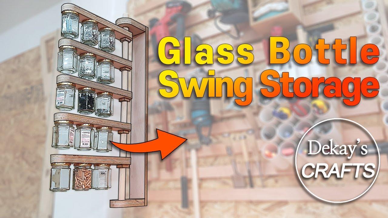 한뼘에 쏙 : 회전하는 벽걸이 유리병 공구 보관함 / Wall-Mounted Glass Bottle Swing Storage [목공 diy woodworking]