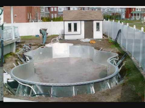 Installation de piscine creus e youtube for Construction piscine creusee