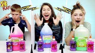 Twin Telepathy Giant Slime Challenge   SuperHero Kids Challenges
