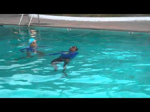 Kartik swims across deep on back, first time; Adult Swimming Lessons
