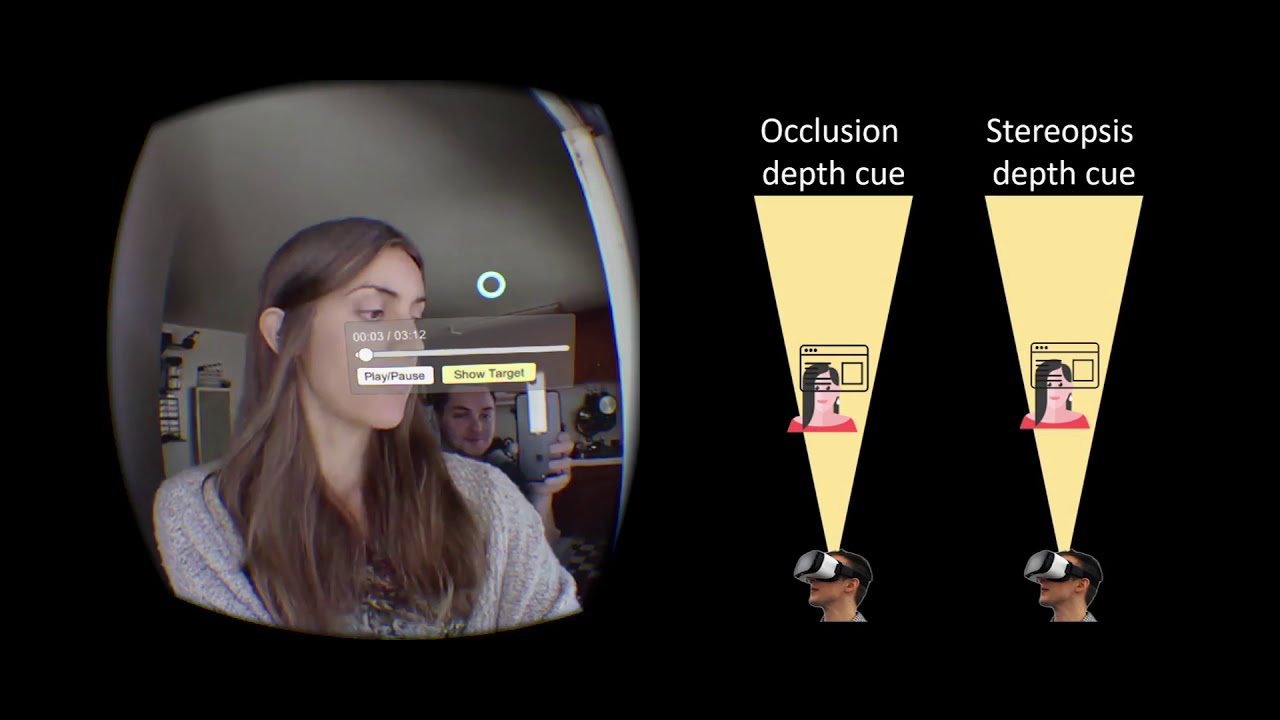 Depth Conflict Reduction for Stereo VR Video Interfaces