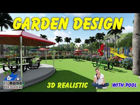 Garden Design 3D realistic || Green Park landscape design || beautiful garden with plants