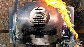 SPRAY PAINT ART -  Black'n' White Ship