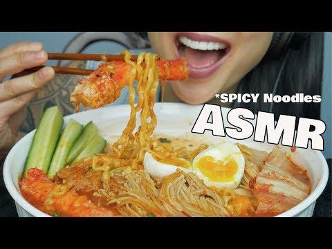 ASMR SPICY NOODLES + KING CRAB LEGS (EATING SOUNDS)   SAS-ASMR