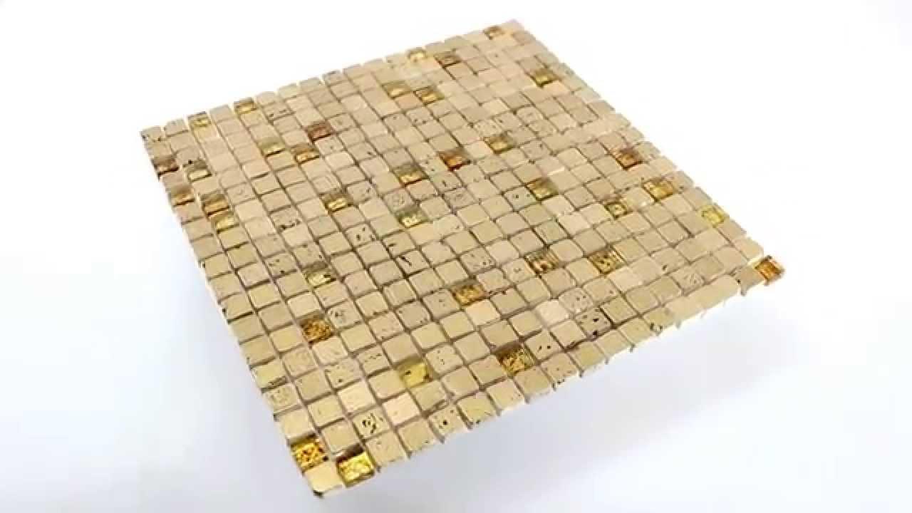 Glas Marmor Mosaik Fliesen Gold 15x15x8mm - YouTube