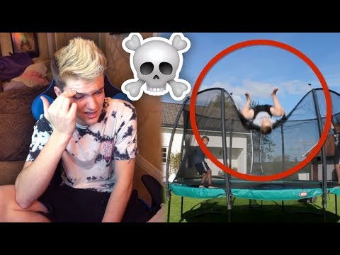 REACTING TO BAD TRAMPOLINE FAILS 2!!