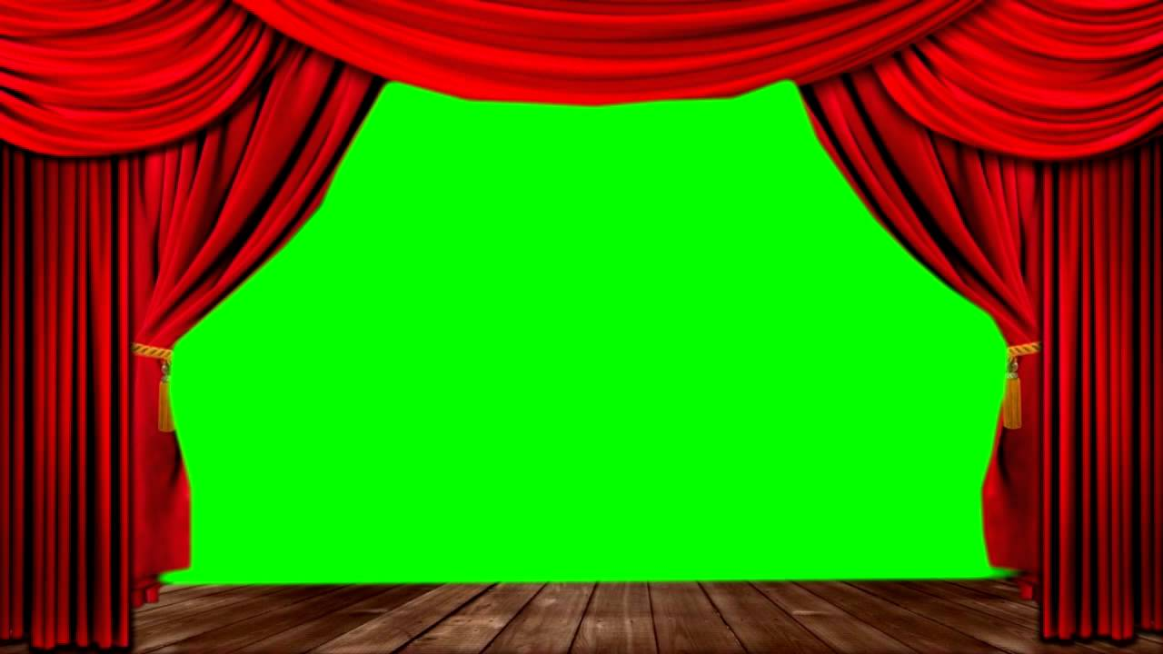Green stage curtains - Theater Stage Green Screen