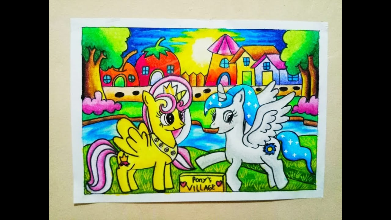 Cara Mewarnai Gradasi Crayon Oilpastel Drawing My Little Pony