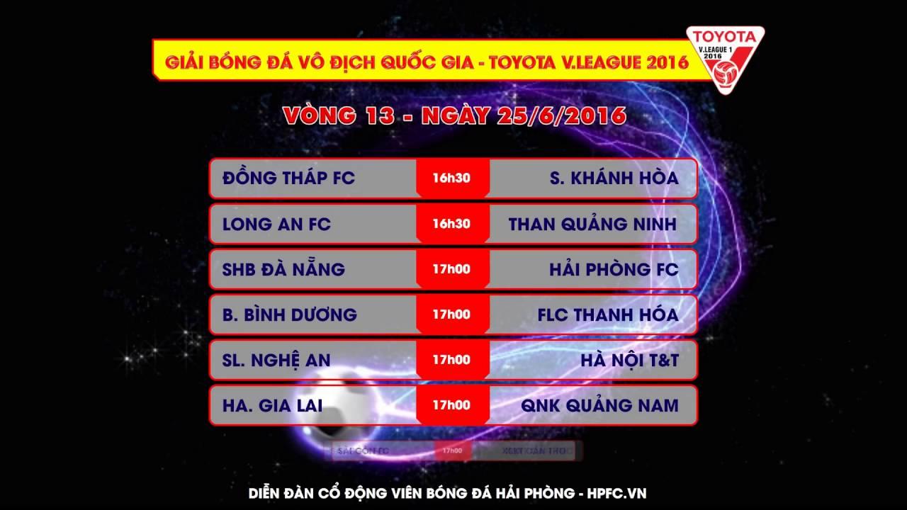 Lịch thi đấu Vòng 13 – Toyota V.League 2016