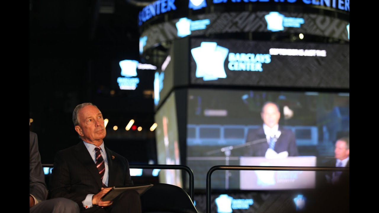 mayor bloomberg speaks at the barclays center ribbon cutting