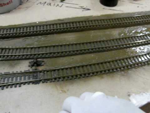 02.24.09 Painting track & cleaning rails after on my modern day HO Union Pacific train layout